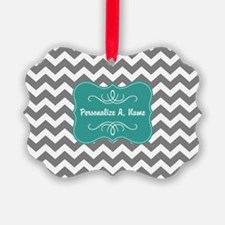 Gray and Teal Chevron Monogram Ornament