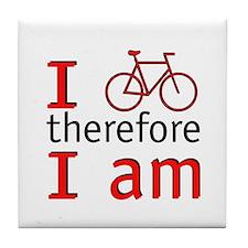 I Bike Therefore I Am Tile Coaster
