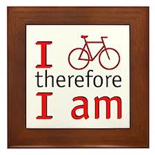 I Bike Therefore I Am Framed Tile