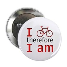 """I Bike Therefore I Am 2.25"""" Button (100 pack)"""