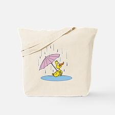 Ducky With Unbrella Tote Bag