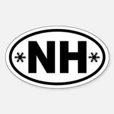 New Hampshire Winter Snowflake Oval Decal