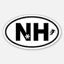 New Hampshire Ski and Snowflake Oval Decal