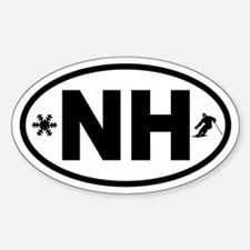 New Hampshire Skier and Snowflake Oval Decal
