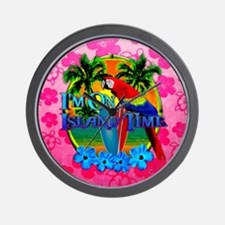 Pink Hibiscus Island Time Sunset Wall Clock