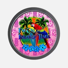 Pink Tiki Island Time Sunset Wall Clock