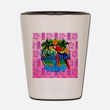 Pink Tiki Island Time Sunset Shot Glass