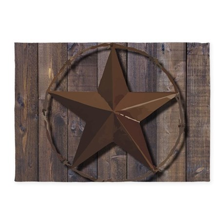 Western Barnwood Texas Star 5u0027x7u0027Area Rug