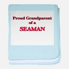 Proud Grandparent of a Seaman baby blanket