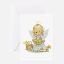 Cute Easter Angel And Ducklings Greeting Cards