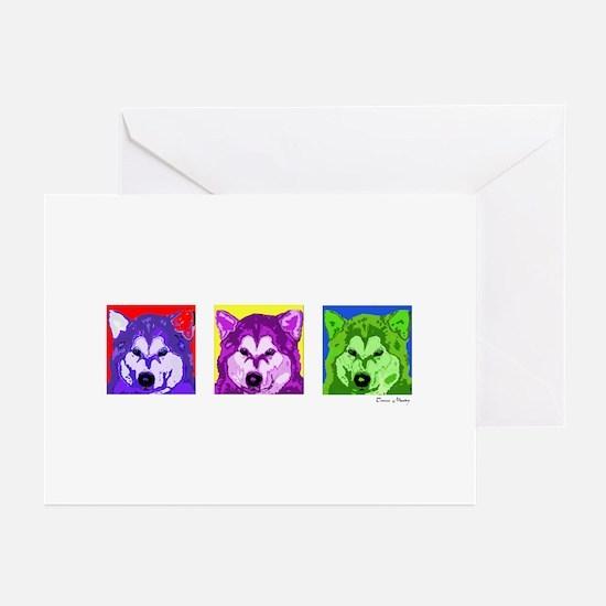 husky13x36 Greeting Cards