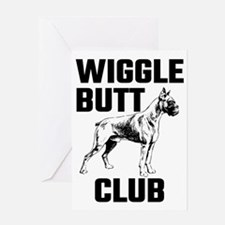Boxer Wiggle Butt Club Greeting Cards
