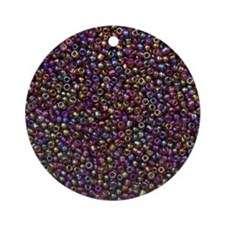 Purple Rainbow Rocaille Seed Beads Round Ornament
