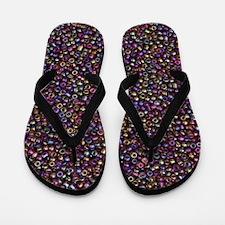Purple Rainbow Rocaille Seed Beads Flip Flops
