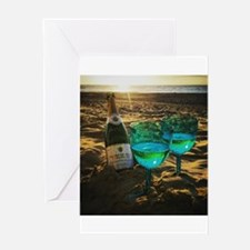 Beach with Drinks Greeting Cards
