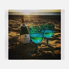Beach with Drinks Throw Blanket