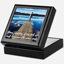 Crystal Blue Lake Pier and Person Jou Keepsake Box