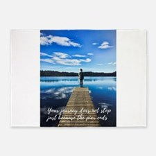 Crystal Blue Lake Pier and Person J 5'x7'Area Rug