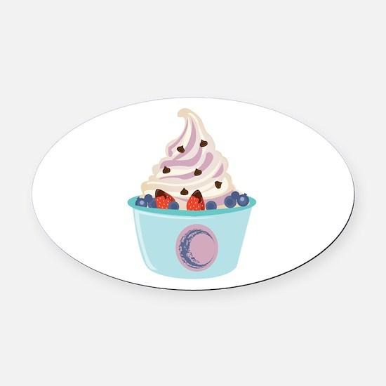Berry Yogurt Oval Car Magnet