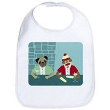 Pug Dog Sock Monkey Baby Bib