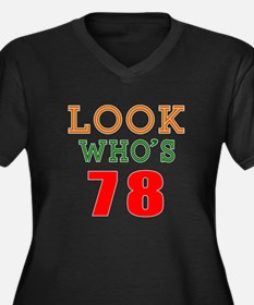 Look Who's 7 Women's Plus Size V-Neck Dark T-Shirt