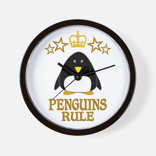 Penguins Rule Wall Clock