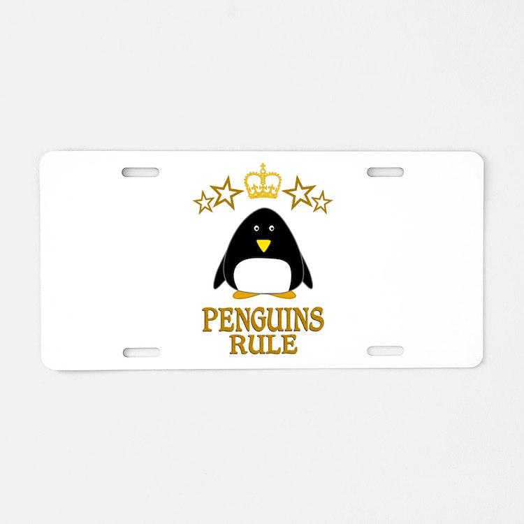 Penguins Rule Aluminum License Plate