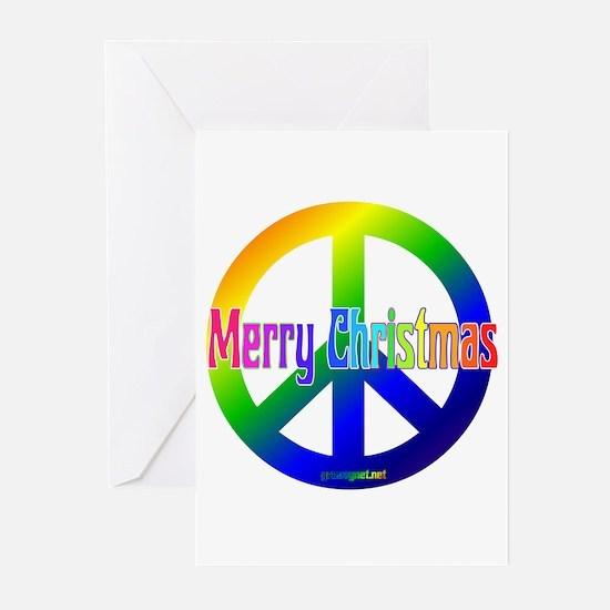 Rainbow Merry Christmas Peace Greeting Cards (Pk o