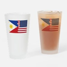 Filipino American Flag Drinking Glass