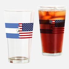 Nicaraguan American Flag Drinking Glass
