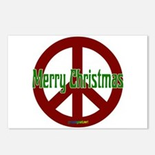 Merry Christmas Red Peace Sig Postcards (Package o