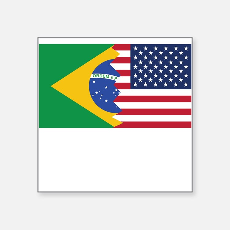 Brazilian American Flag Sticker