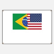 Brazilian American Flag Banner