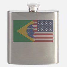 Brazilian American Flag Flask