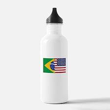 Brazilian American Flag Water Bottle