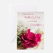 For daughter, Happy mothers day with roses Greetin