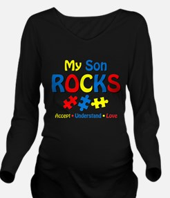 Autistic Son Rocks Long Sleeve Maternity T-Shirt