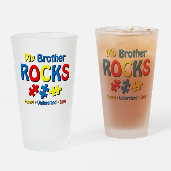 Autistic Brother Rocks Drinking Glass