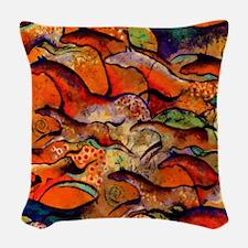 Petroglyph Wild Horses Woven Throw Pillow