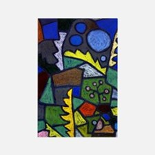 Unique Abstract expressionism Rectangle Magnet