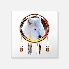 "White Wolf Shield Square Sticker 3"" X 3"""