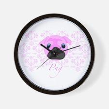 Pink pug pattern Wall Clock