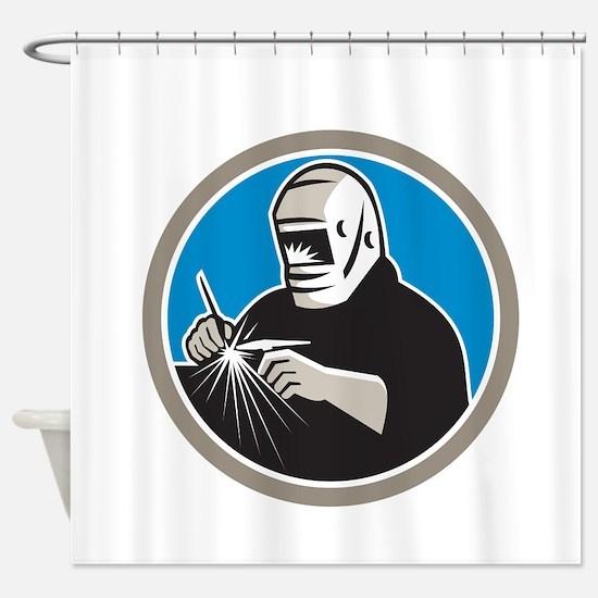 Tig Welder Welding Circle Retro Shower Curtain
