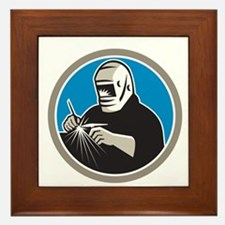 Tig Welder Welding Circle Retro Framed Tile