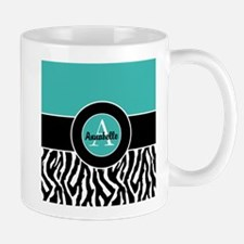 Teal Zebra Monogram Personalized Mugs