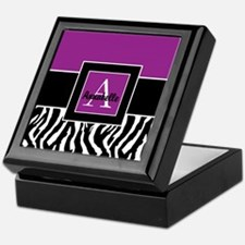 Purple Zebra Monogram Personalized Keepsake Box
