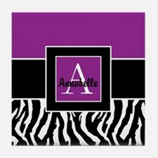 Purple Zebra Monogram Personalized Tile Coaster