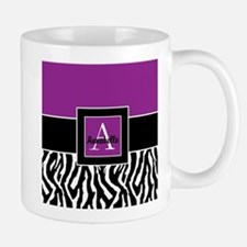 Purple Zebra Monogram Personalized Mugs