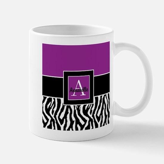 Purple Zebra Monogram Personalized Mugs