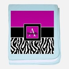 Purple Zebra Monogram Personalized baby blanket